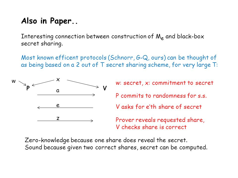Also in Paper.. Interesting connection between construction of M e and black-box secret sharing.