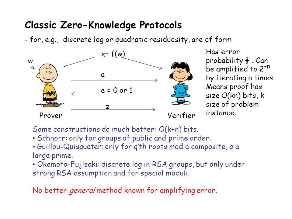 Classic Zero-Knowledge Protocols - for, e.g., discrete log or quadratic residuosity, are of form ProverVerifier x= f(w) e = 0 or 1 a z Some constructi