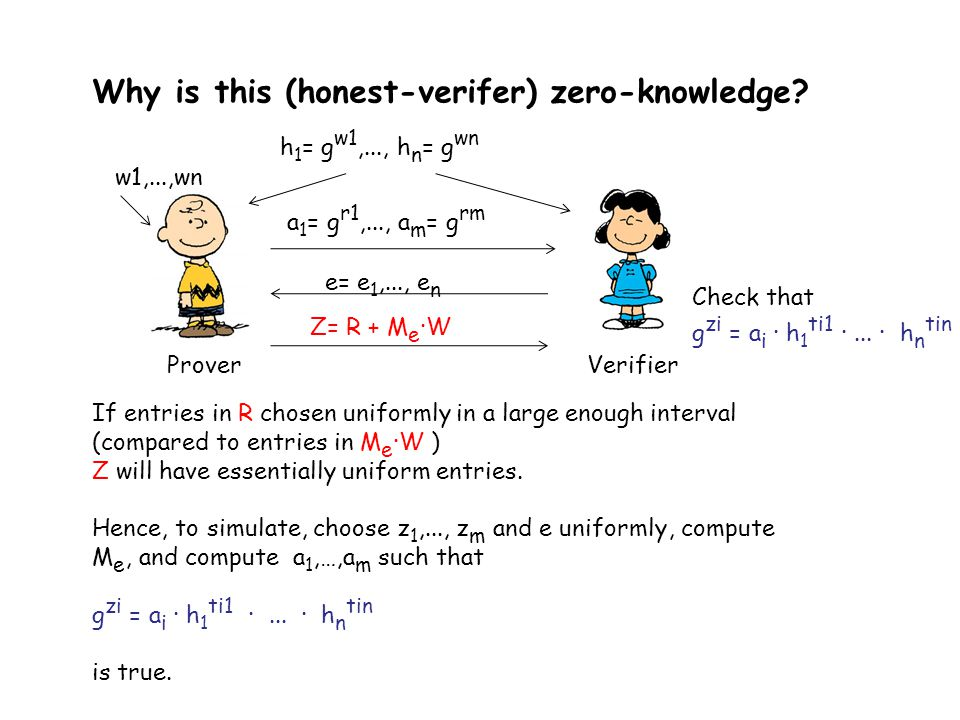 Why is this (honest-verifer) zero-knowledge? If entries in R chosen uniformly in a large enough interval (compared to entries in M e ·W ) Z will have