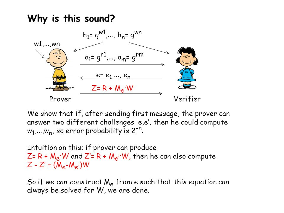 Why is this sound? We show that if, after sending first message, the prover can answer two different challenges e,e', then he could compute w 1,...,w