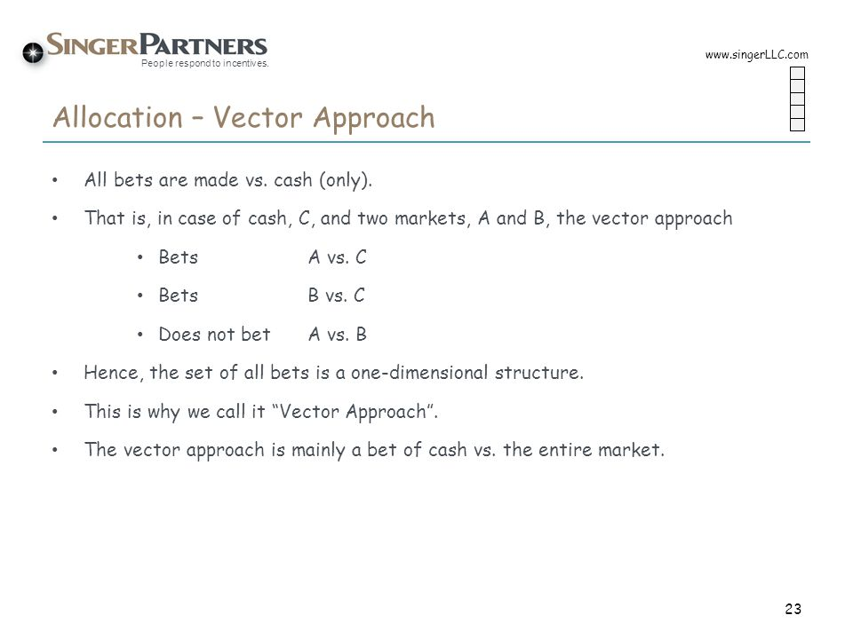 People respond to incentives. Allocation – Vector Approach All bets are made vs. cash (only). That is, in case of cash, C, and two markets, A and B, t