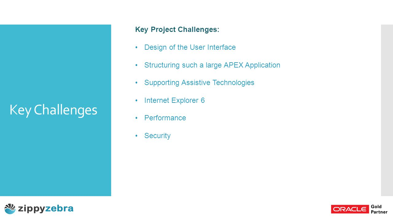 Key Challenges Key Project Challenges: Design of the User Interface Structuring such a large APEX Application Supporting Assistive Technologies Internet Explorer 6 Performance Security