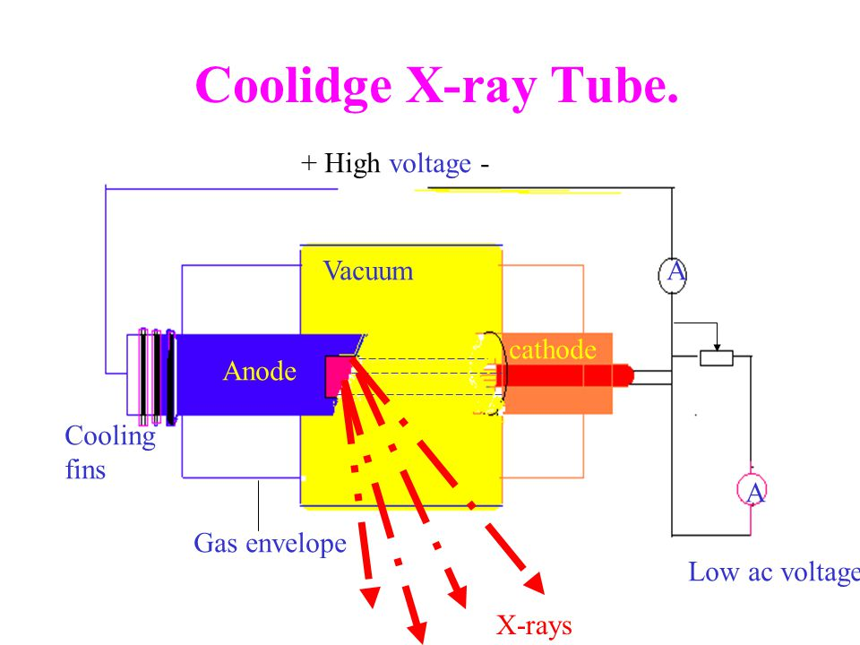 Coolidge X-ray Tube. + High voltage - Anode cathode Cooling fins A Vacuum Low ac voltage Gas envelope A X-rays