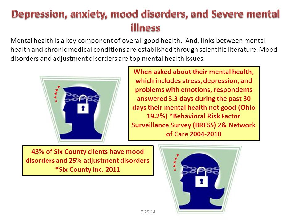 When asked about their mental health, which includes stress, depression, and problems with emotions, respondents answered 3.3 days during the past 30 days their mental health not good (Ohio 19.2%) *Behavioral Risk Factor Surveillance Survey (BRFSS) 2& Network of Care 2004-2010 43% of Six County clients have mood disorders and 25% adjustment disorders *Six County Inc.