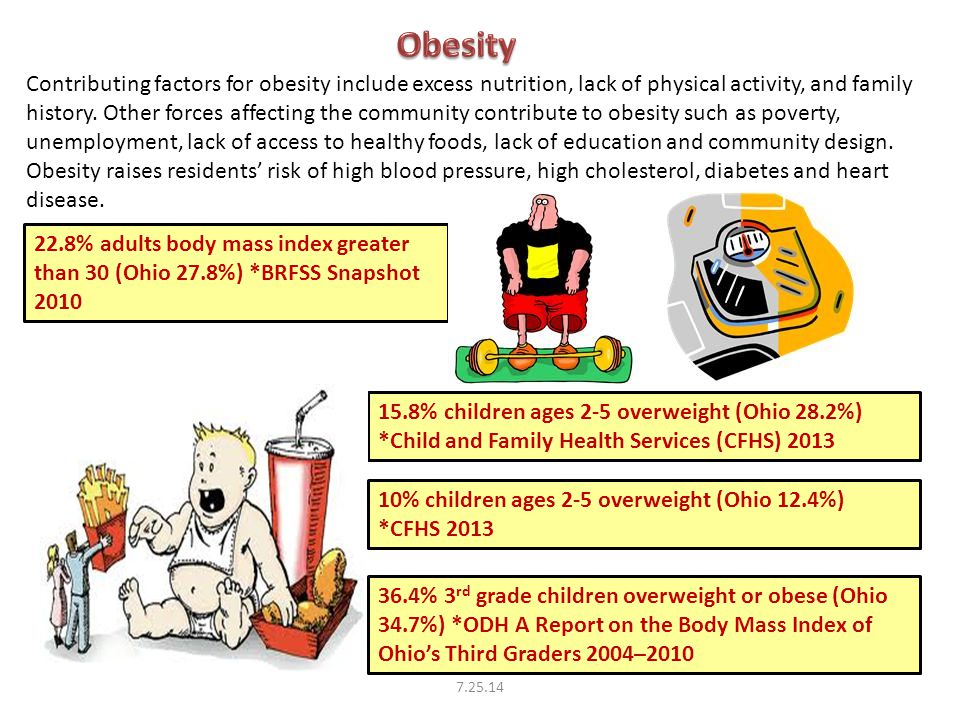 15.8% children ages 2-5 overweight (Ohio 28.2%) *Child and Family Health Services (CFHS) 2013 22.8% adults body mass index greater than 30 (Ohio 27.8%) *BRFSS Snapshot 2010 Contributing factors for obesity include excess nutrition, lack of physical activity, and family history.
