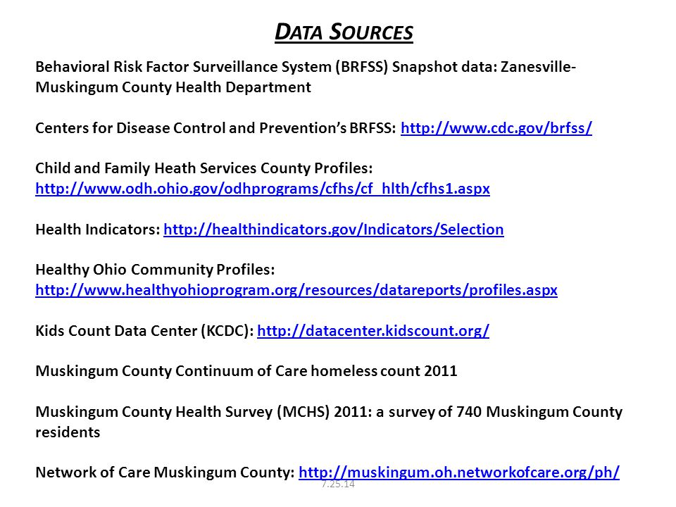 D ATA S OURCES Behavioral Risk Factor Surveillance System (BRFSS) Snapshot data: Zanesville- Muskingum County Health Department Centers for Disease Control and Prevention's BRFSS: http://www.cdc.gov/brfss/http://www.cdc.gov/brfss/ Child and Family Heath Services County Profiles: http://www.odh.ohio.gov/odhprograms/cfhs/cf_hlth/cfhs1.aspx http://www.odh.ohio.gov/odhprograms/cfhs/cf_hlth/cfhs1.aspx Health Indicators: http://healthindicators.gov/Indicators/Selectionhttp://healthindicators.gov/Indicators/Selection Healthy Ohio Community Profiles: http://www.healthyohioprogram.org/resources/datareports/profiles.aspx http://www.healthyohioprogram.org/resources/datareports/profiles.aspx Kids Count Data Center (KCDC): http://datacenter.kidscount.org/http://datacenter.kidscount.org/ Muskingum County Continuum of Care homeless count 2011 Muskingum County Health Survey (MCHS) 2011: a survey of 740 Muskingum County residents Network of Care Muskingum County: http://muskingum.oh.networkofcare.org/ph/http://muskingum.oh.networkofcare.org/ph/ 7.25.14
