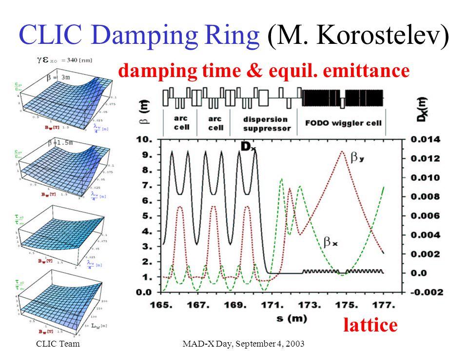CLIC TeamMAD-X Day, September 4, 2003 CLIC Damping Ring (M.