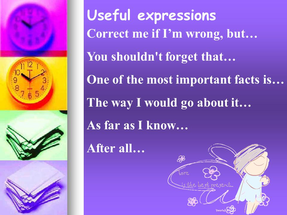 Useful expressions Correct me if I'm wrong, but… You shouldn t forget that… One of the most important facts is… The way I would go about it… As far as I know… After all…