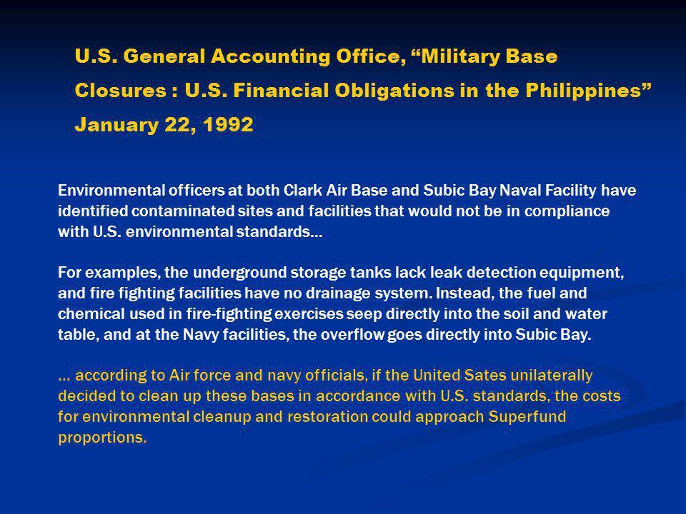 U.S.General Accounting Office, Military Base Closures : U.S.