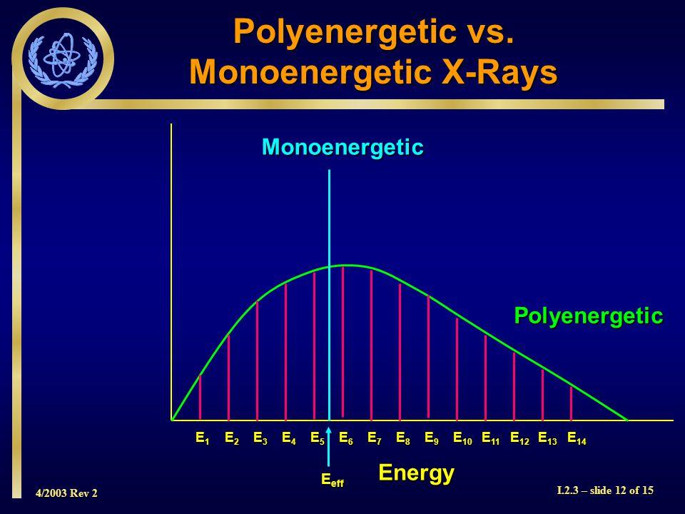 4/2003 Rev 2 I.2.3 – slide 12 of 15 Energy Polyenergetic E1E1E1E1 E6E6E6E6 E7E7E7E7 E8E8E8E8 E9E9E9E9 E 10 E 11 E 12 E 13 E 14 E2E2E2E2 E3E3E3E3 E4E4E