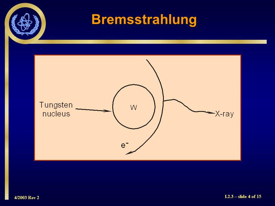 4/2003 Rev 2 I.2.3 – slide 5 of 15 Bremsstrahlung