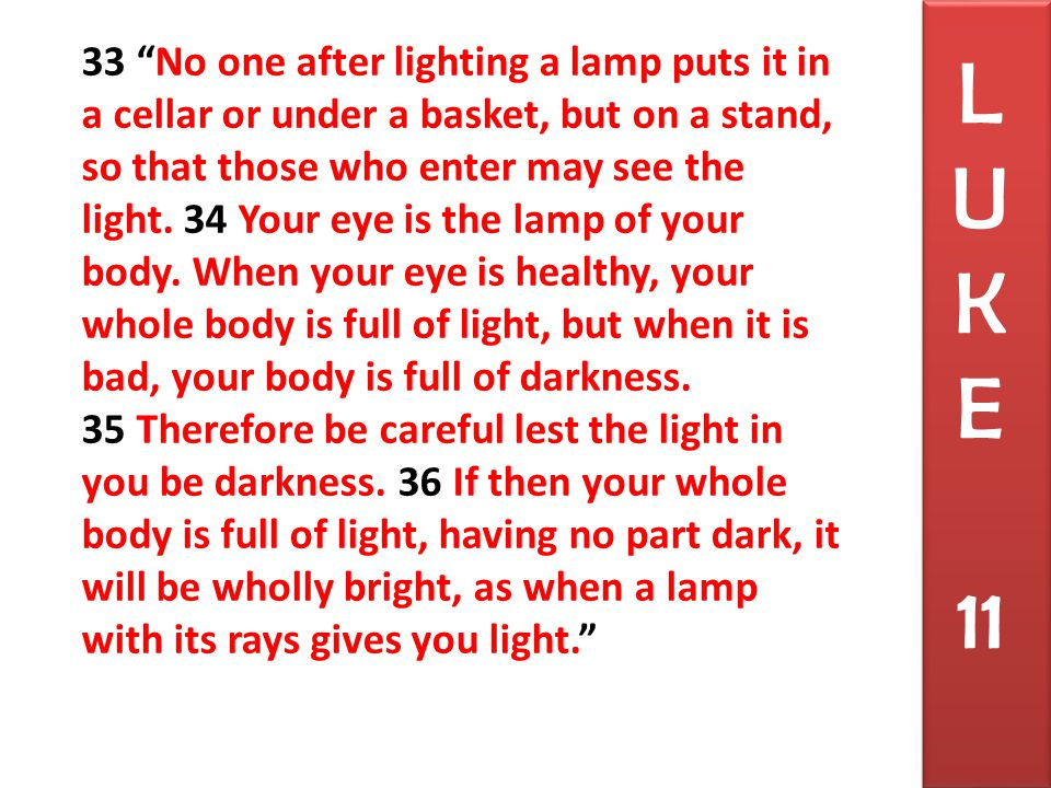 33 No one after lighting a lamp puts it in a cellar or under a basket, but on a stand, so that those who enter may see the light.