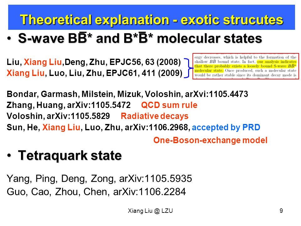 Xiang Liu @ LZU10 Sun, He, Xiang Liu, Luo, Zhu, arXiv:1106.2968, accepted by PRD One-Boson-exchange model