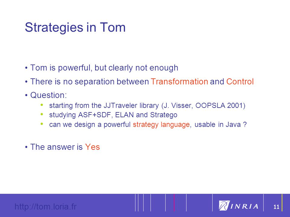 11 http://tom.loria.fr 11 Strategies in Tom Tom is powerful, but clearly not enough There is no separation between Transformation and Control Question: s tarting from the JJTraveler library (J.