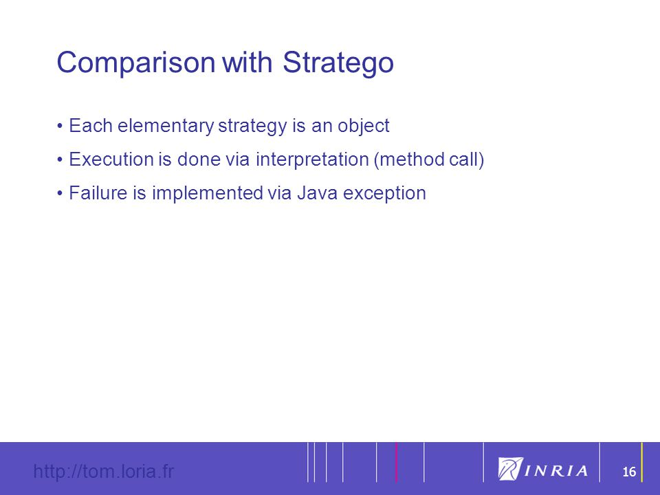 16 http://tom.loria.fr 16 Comparison with Stratego Each elementary strategy is an object Execution is done via interpretation (method call) Failure is implemented via Java exception
