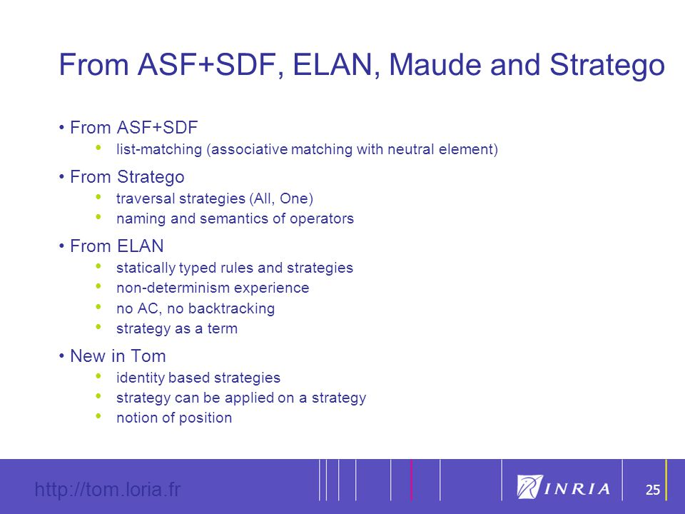 25 http://tom.loria.fr 25 From ASF+SDF, ELAN, Maude and Stratego From ASF+SDF list-matching (associative matching with neutral element) From Stratego traversal strategies (All, One) naming and semantics of operators From ELAN statically typed rules and strategies non-determinism experience no AC, no backtracking strategy as a term New in Tom identity based strategies strategy can be applied on a strategy notion of position