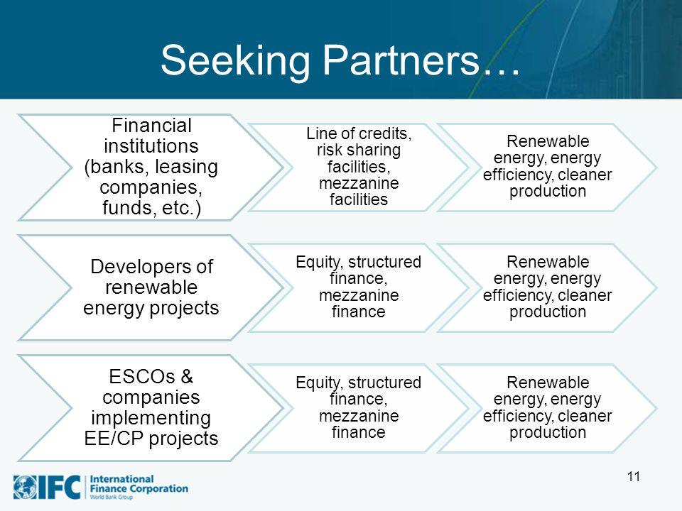 Seeking Partners… 11 Financial institutions (banks, leasing companies, funds, etc.) Line of credits, risk sharing facilities, mezzanine facilities Ren