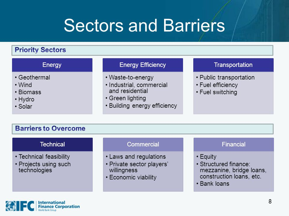 Sectors and Barriers 8 Technical Technical feasibility Projects using such technologies Commercial Laws and regulations Private sector players' willin