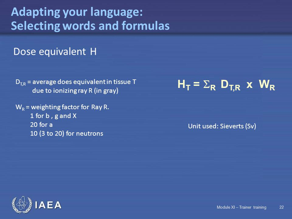 IAEA Module XI – Trainer training21 Adapting your language: Selecting words and formulas leadpaperaluminium