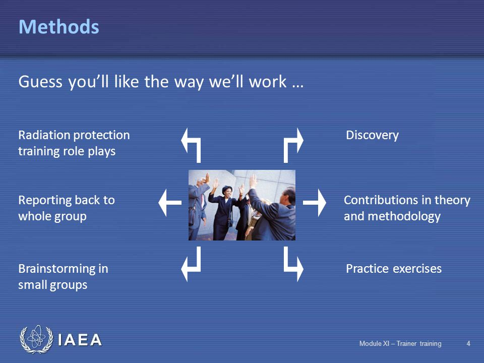 IAEA Module XI – Trainer training34 Assessment Assessment phases Assessment of acquired notions  Assessment of course entry requirements  In-progress assessment of acquired notions  Final assessment