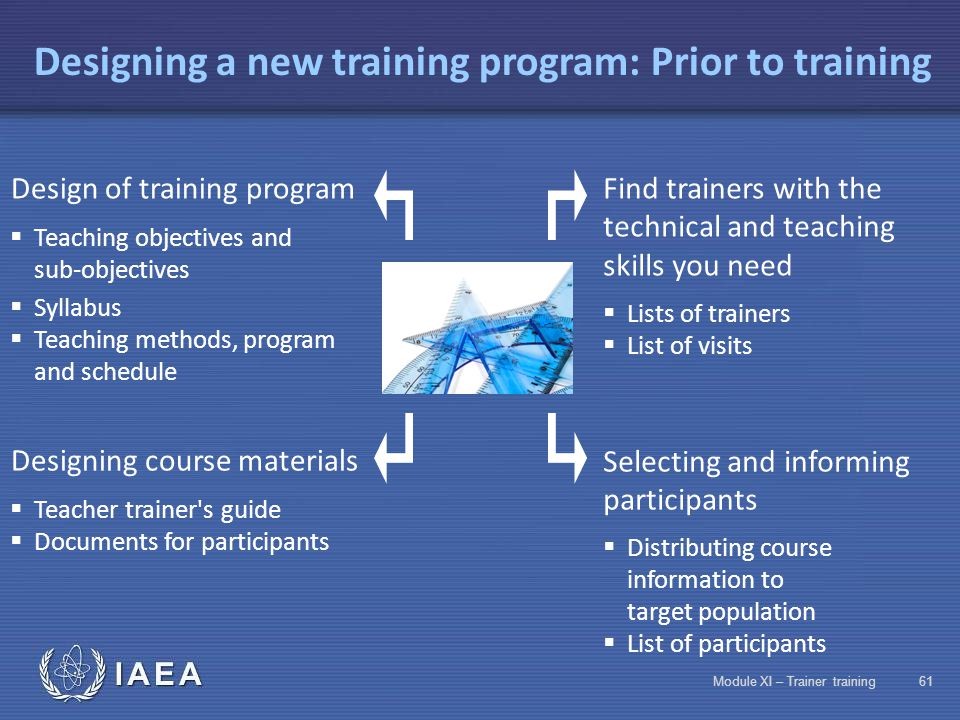 IAEA Module XI – Trainer training60 Comparison of different teaching methods MethodAdvantagesDisadvantages Classroom training (including the theorie,