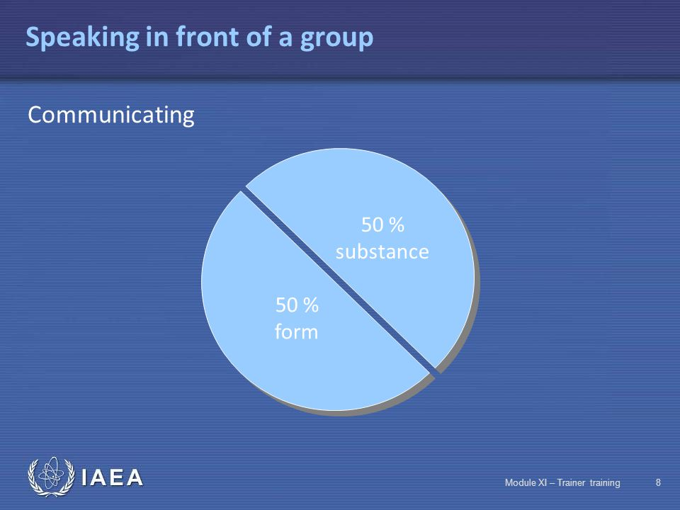 IAEA Module XI – Trainer training18 Adapting your language: Selecting words and formulas Penetration of ionizing rays in materials:  Heavy charged particles (alpha)  Electromagnetic rays (gamma and X)