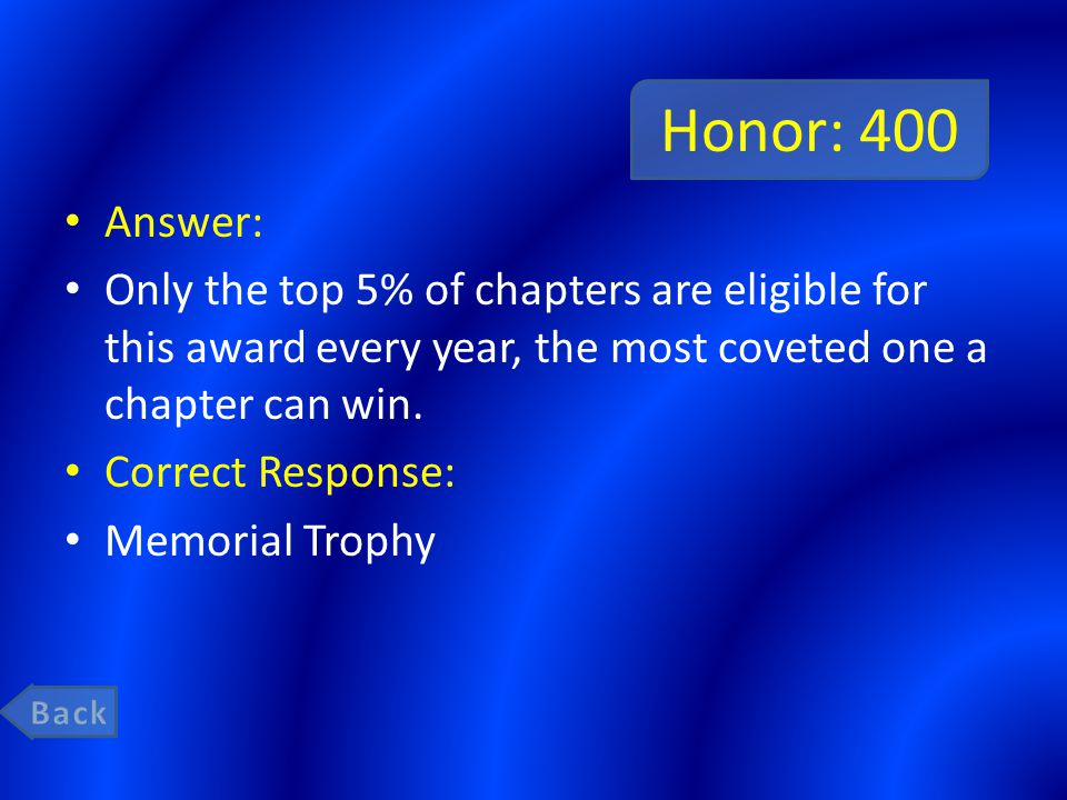 Honor: 400 Answer: Only the top 5% of chapters are eligible for this award every year, the most coveted one a chapter can win.
