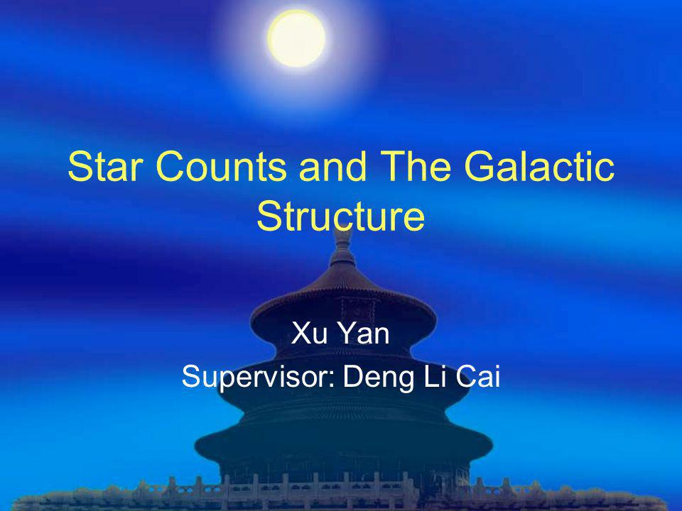 Star Counts and The Galactic Structure Xu Yan Supervisor: Deng Li Cai