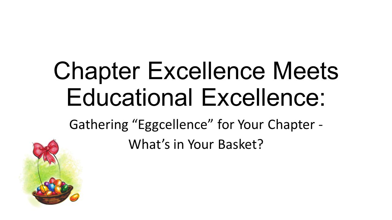 Chapter Excellence in 2014 29 Chapters earned Gold 8 Chapters earned Silver 2 Chapters earned Bronze 7 Chapters earned Honorable Mention 30 Chapters did not apply How Excellent is your chapter.