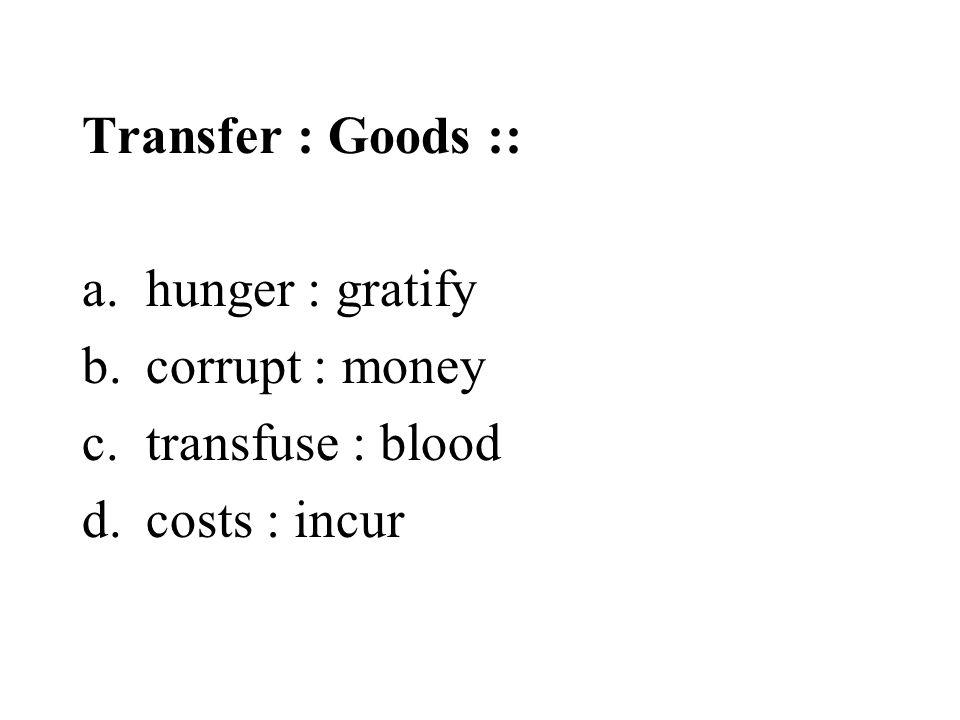 Transfer : Goods :: a.hunger : gratify b.corrupt : money c.transfuse : blood d.costs : incur