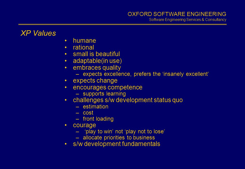OXFORD SOFTWARE ENGINEERING Software Engineering Services & Consultancy Slide 1.5 XP Practices planning game –user stories metaphor simple design tests –acceptance –unit on site user pair programming frequent releases continuous integration refactoring collective code ownership coding standards 40 hour week