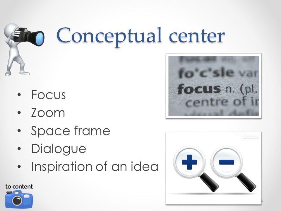 Conceptual center Focus Zoom Space frame Dialogue Inspiration of an idea
