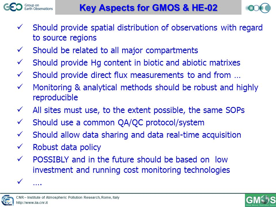 CNR – Institute of Atmospheric Pollution Research, Rome, Italy http://www.iia.cnr.it The GMOS-CI