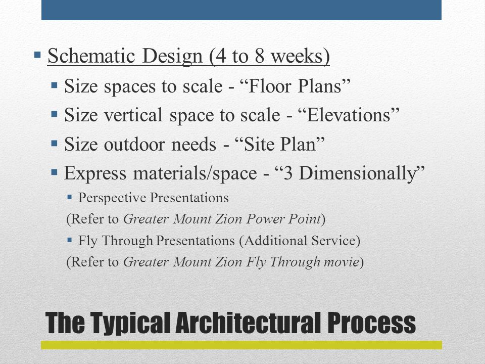 The Typical Architectural Process  Schematic Design (4 to 8 weeks)  Size spaces to scale - Floor Plans  Size vertical space to scale - Elevations  Size outdoor needs - Site Plan  Express materials/space - 3 Dimensionally  Perspective Presentations (Refer to Greater Mount Zion Power Point)  Fly Through Presentations (Additional Service) (Refer to Greater Mount Zion Fly Through movie)