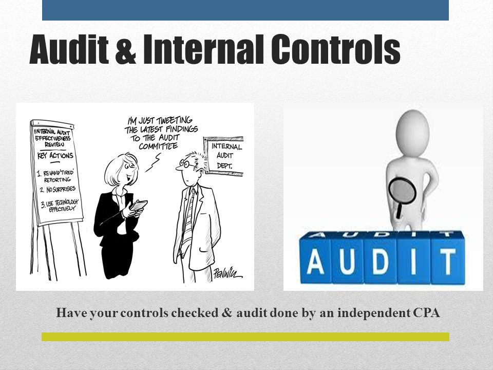 Audit & Internal Controls Have your controls checked & audit done by an independent CPA