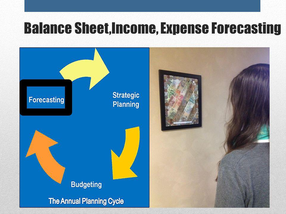 Balance Sheet,Income, Expense Forecasting
