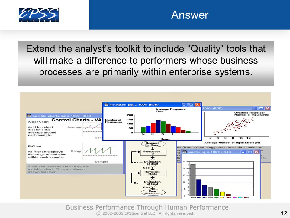 12 Answer Extend the analyst's toolkit to include Quality tools that will make a difference to performers whose business processes are primarily within enterprise systems.