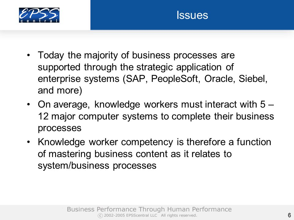 7 Observations Much time and energy are spent in system development / maintenance documenting business processes to inform subsequent phases When systems are built and deployed explicit representations of process are lost to the performer (user, worker) Business processes representations remain internal to the system but not visible to the performer Therefore workers must be trained on business processes as system interfaces provide little support BUT training in advance of doing falls short of enabling performance by over of 80%