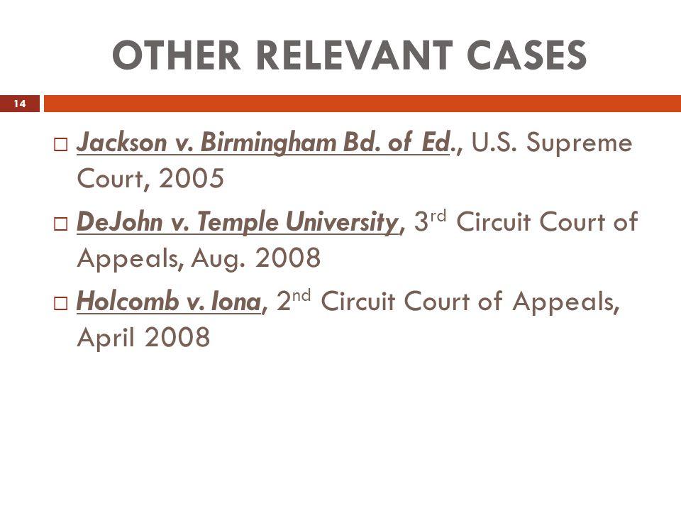 OTHER RELEVANT CASES 14  Jackson v.Birmingham Bd.