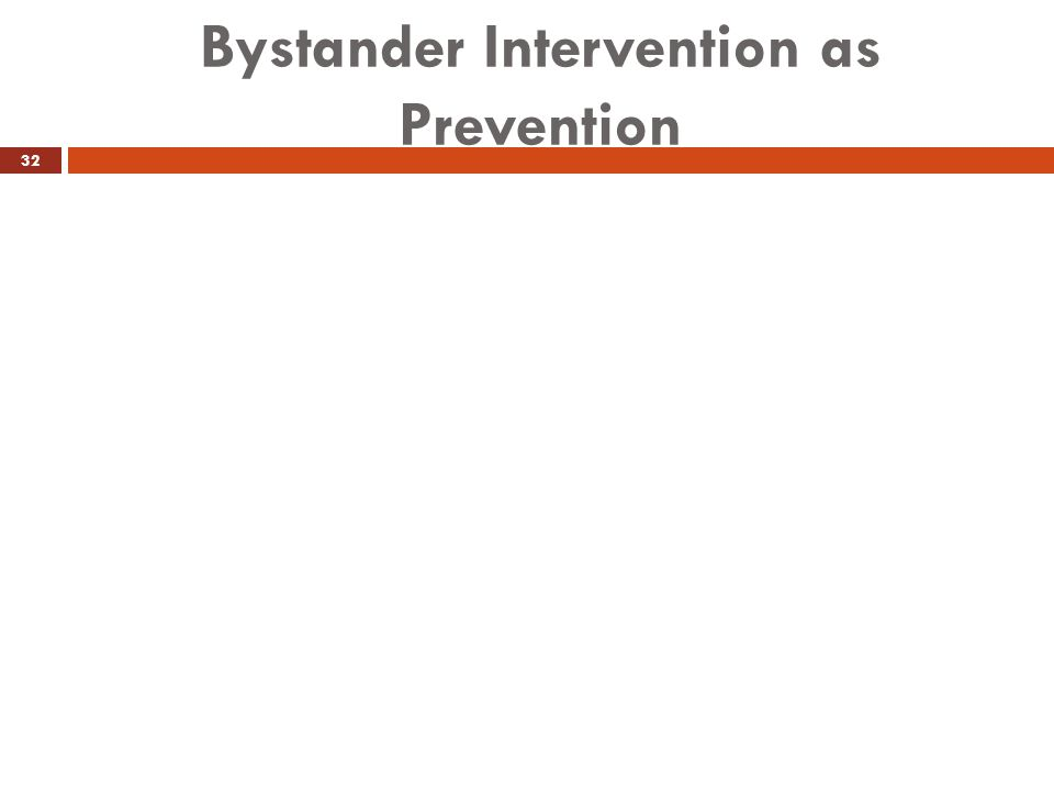 Bystander Intervention as Prevention 32