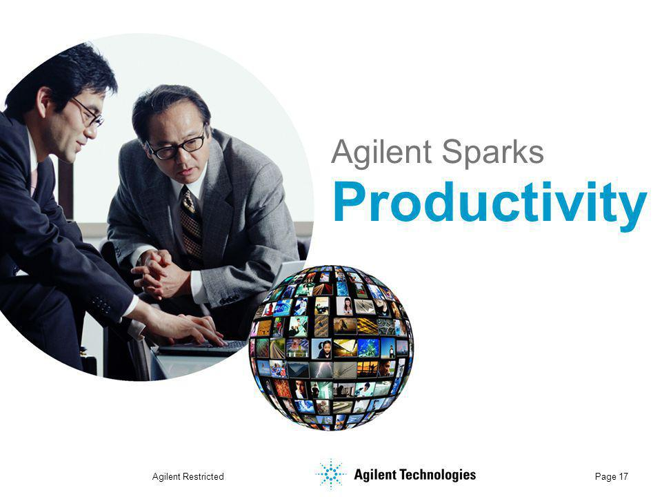 Agilent Restricted Page 17 Agilent Sparks Productivity