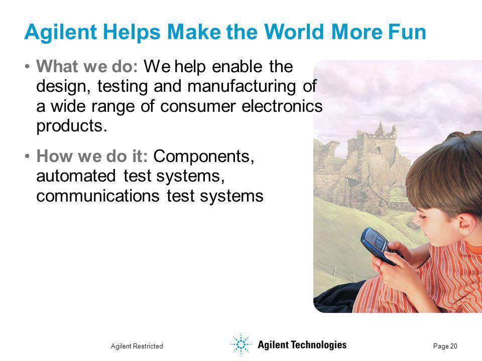 Agilent Restricted Page 20 Agilent Helps Make the World More Fun What we do: We help enable the design, testing and manufacturing of a wide range of consumer electronics products.