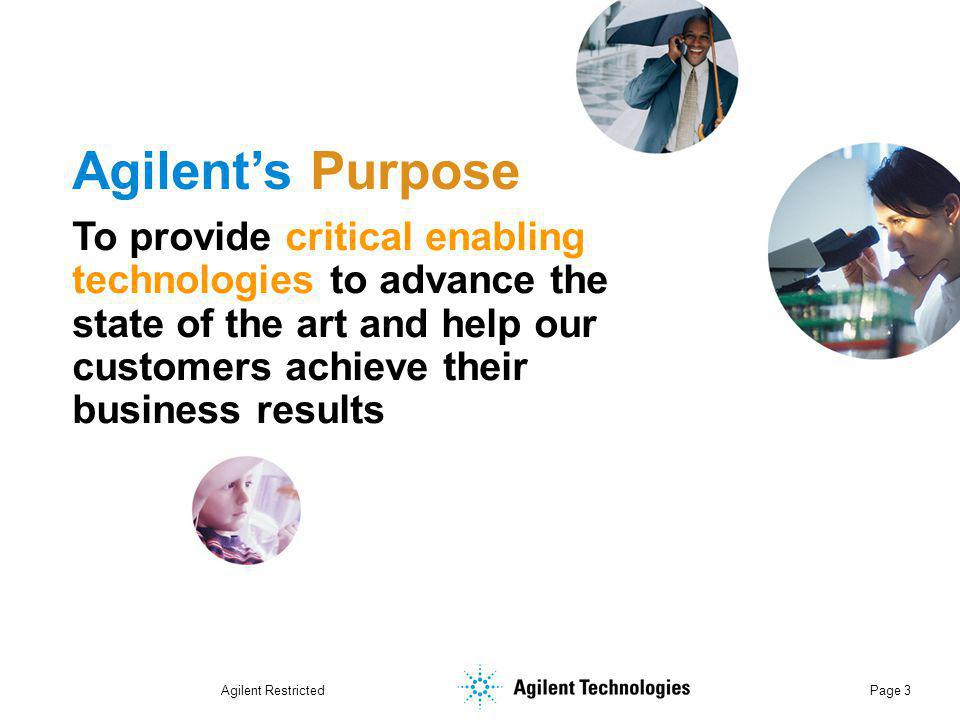 Agilent Restricted Page 24 Agilent 2005 People Priority Cause a breakthrough in the employee experience at Agilent Leadership: Ensure powerful leadership Learning: Make learning a key differentiator at Agilent Connection: Increase employees' feeling of connection to Agilent, its leaders & each other