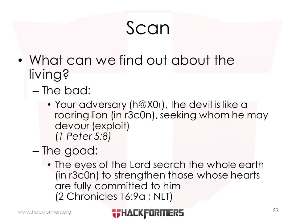 Scan What can we find out about the living.