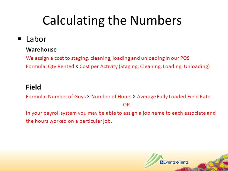  Supplies (Use one of these methods for each department) Two different ways to calculate: First, get two numbers for each of your departments.