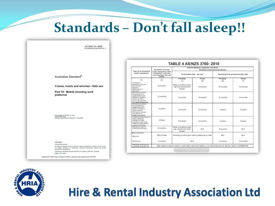 Standards – Don't fall asleep!!