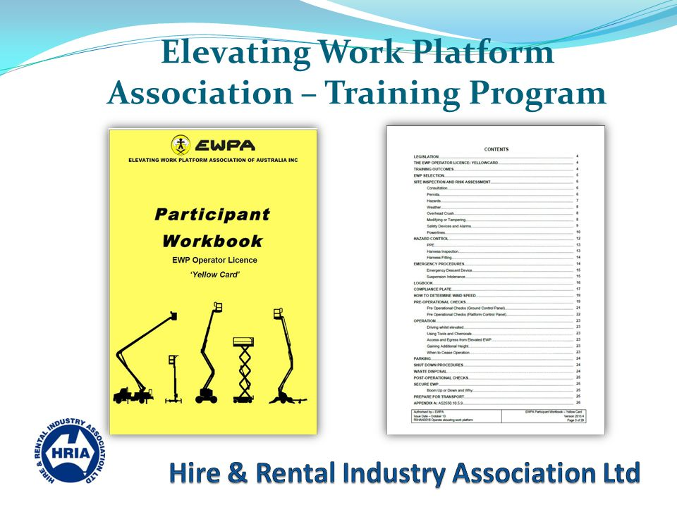 Elevating Work Platform Association – Training Program