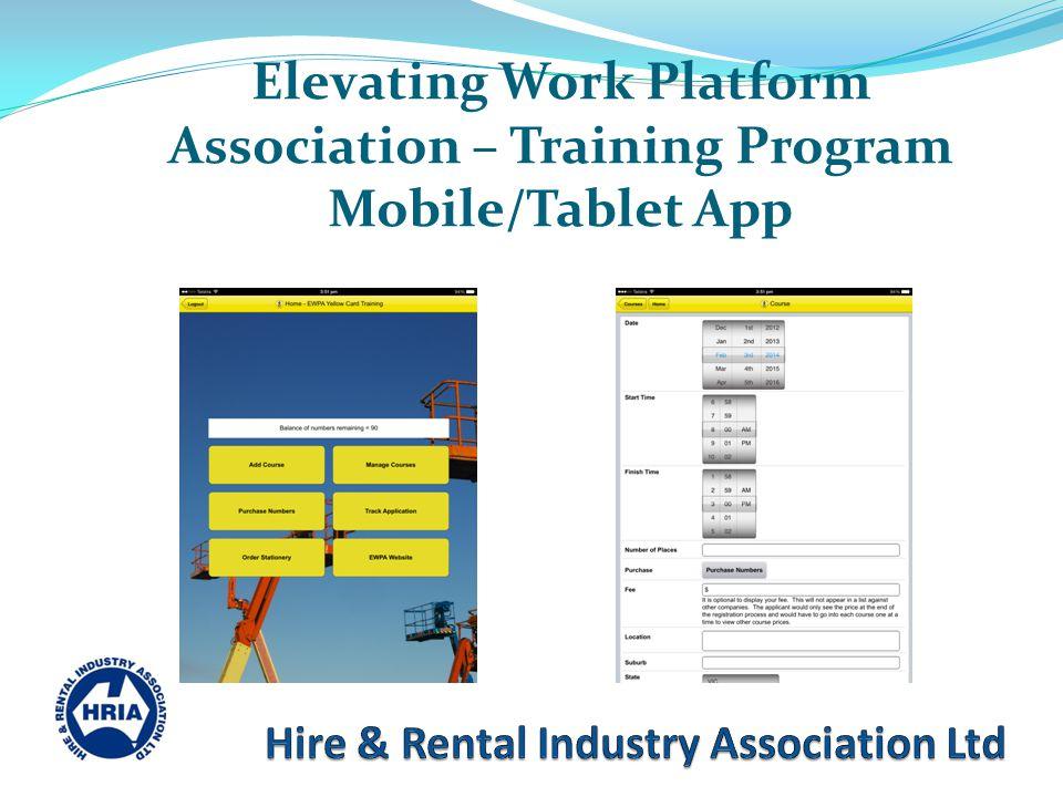 Elevating Work Platform Association – Training Program Mobile/Tablet App