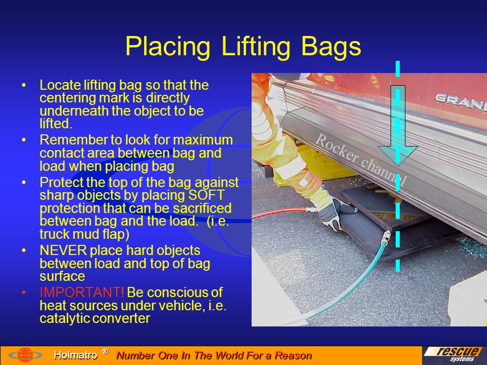 Number One In The World For a Reason ® ® Holmatro Placing Lifting Bags When there is not enough insertion space for bag placement you may need to use another device to create space Holmatro's power wedge can create a 2 inch space from only ¼ inch gap…