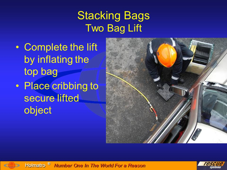 Number One In The World For a Reason ® ® Holmatro Inflation Sequence With lifting bag system correctly connected and bags properly placed you can now begin the lift 1.Using the controller, begin slowly inflating the bottom bag 2.Place cribbing as the load begins to rise 3.Once an adequate height is reached secure the load with cribbing.